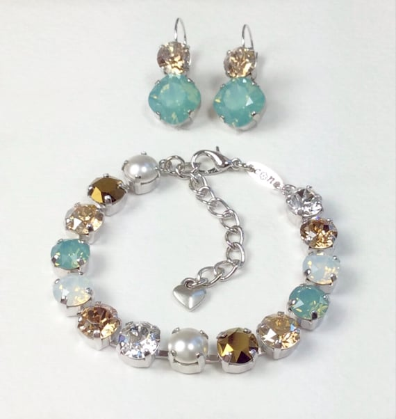 "Swarovski Crystal 8.5mm Bracelet & Earrings - "" Pacific Dream ""  Pacific Opal, White Opal, and Golden Hues - Bridesmaid Gift - FREE SHIPPING"
