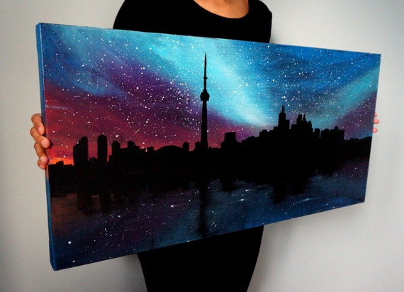 Toronto skyline acrylic canvas painting galaxy wall art by for How to make canvas painting