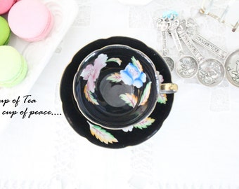 Vintage Porcelain, Hand Painted, Tea Cup and Saucer, Made in Occupied Japan, Princess China, Replacement China