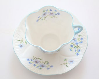 Vintage Shelley English Fine Bone China, Dainty Shape, Blue Rock Pattern Teacup and Saucer Tea Party - c. 1940 - 1962