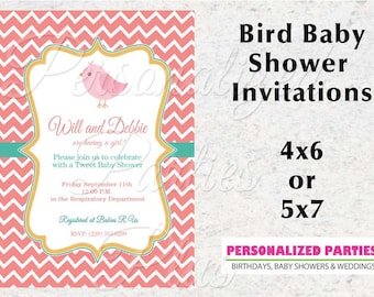 Bird Baby Shower invitation | Girl baby shower invitations | chevron bird baby shower invite