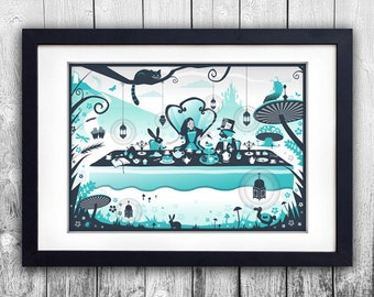 Alice in Wonderland/Mad Hatters tea party print available to choose in different sizes