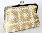 CLUTCH in gold and white squares/geometric - LARGE