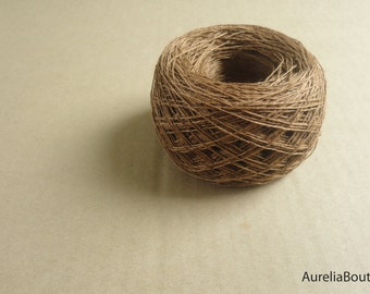 Linen brown yarn, linen thread, natural linen, natural 3ply yarn, crochet yarn