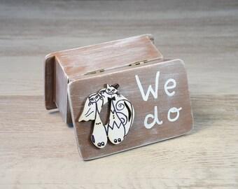 ring bearer box, ring bearer pillow alternative, wedding ring box, ring box, ring box wedding, rustic ring holder, we do, bride groom cats