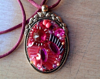 Pendant - red-hot pink bead embroidery choker with rhinestones and mixed beads