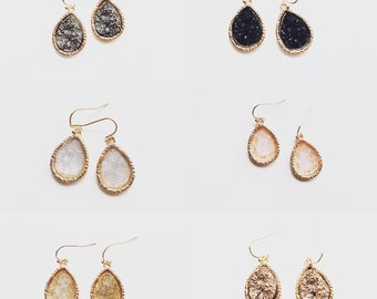 Druzy Drop Bridesmaid Earrings // Druzy Earrings // Sparkling Druzy Wedding Earrings