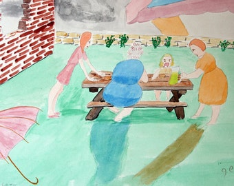 c.1960, Outsider Art, Original Watercolor: On the Lawn, by George, Excellent Condition, OOAK, Mid Century