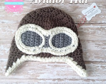 Baby Pilot Hat, Crochet Pilot Hat, Crochet Aviator Hat, Baby Aviator Hat, Aviator Googles, Aviator Hat, Pilot Hat, Aviator Photo Prop