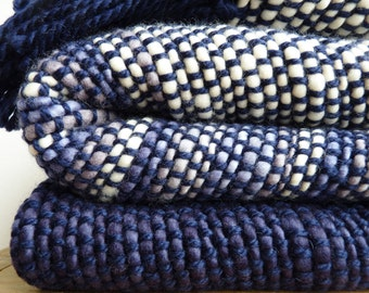 Wool Sofa Blanket, Blue throw merino wool, Wool knit throw, Ocean Handwoven wrap, Boyfriend gifts