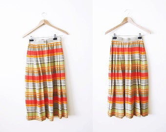Pleated Midi Skirt / Button Front Skirt / Multicolor Striped 90s Silk Skirt