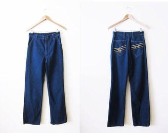 70s Jeans / Vintage Wrangler Jeans / Wide Leg Pants / High Waisted Denim / 26