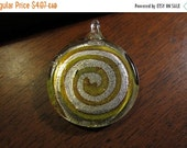 CLEARANCE PRICED - 40mm, Lampwork Glass Pendant with Silver Foil & Gold Spiral, and a Green Glass Back - There is just 1 of these Fun Pendan