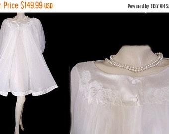 20% off Sale Vintage Gossard Armetis Peignoir & Nightgown Set bridal set bridal nightgown bridal peignoir trousseau set Double nylon bridal