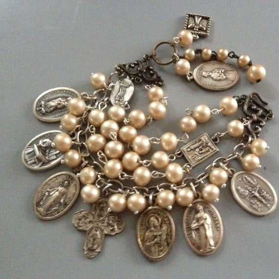 BRACELET Religious Cross, Medals rosary Assemblage Bracelet, Charm, Statement, Multi Strand, Vintage Repurposed, Recycled, Upcycled, OOAK