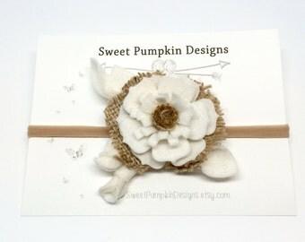 Burlap Headband // Baby Headband // Felt Flower Cluster // Flower Crown // White // Tan // Burlap // Wool Felt Flower // HB1336