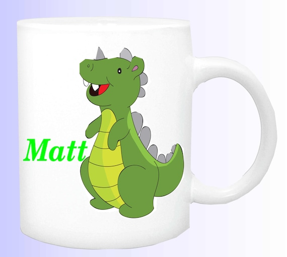 personalized dinosaur mug, customized dinosaur cup, boys dinosaur mug, boys special dinosaur cup,  your name on dinosaur cup, dinosaur mug,