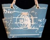 Womens Handbag, Script Purses, Medium Handbag, Handmade handbag, Blue Purse, Leather handles, Shoulder bag