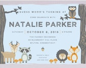 Woodland Birthday Invitation - Kid's Birthday Party - Zoo Party - Children's Birthday Party - Birthday Party Invitation
