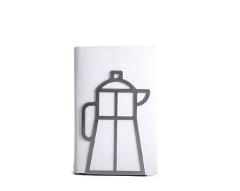 A Metal Kitchen bookend // Coffee pot // functional decor for modern kitchen // cookbook book holder // FREE SHIPPING worldwide /