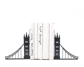 Unique metal bookends - London bridge - // decorative book holders // perfect housewarming gift // modern home decor // FREE SHIPPING