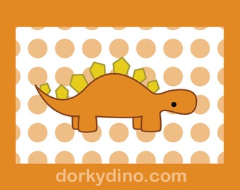 Orange Dinosaur Children's Wall Art, Stegosaurus Digital Art Print, Dino with Polka Dot Decor, Spotted Orange and Yellow Nursery Decoration