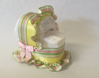 Baby Shower Diaper Cake Bassinet- Pastel Pink, Mint and Yellow