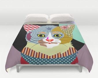 Cat Bedding, Cat Duvet Cover, Animal Bedding, Cat Lover Gift,  Queen Duvet Cover, Full Duvet Cover, King Duvet Cover