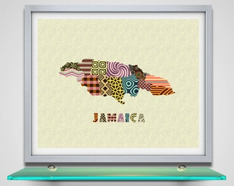 Jamaica Map, Jamaican Art, Jamaican Gift, Jamaica Souvenir, Jamaica Travel Poster Wall Decor, Caribbean art Print