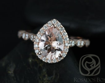 Sydney 9x7mm 14kt Rose Gold Pear Morganite and Diamonds Halo and Leaves WITH Milgrain Engagement Ring (Other metals and stones available)