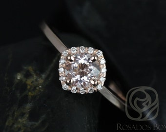Kyla 5mm 14kt Rose Gold Morganite and Diamond Cushion Halo Engagement Ring (Other metals and stone options available)