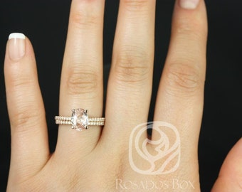 Rosados Box Oval Hillary 2.28cts 14kt Rose Gold Peachy Pink Sapphire and Diamond Basket Classic Wedding Set