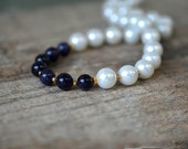 Blue bead necklace with glass pearls Classic white and navy nautical summer necklace Office fashion summer jewelry Single strand necklace