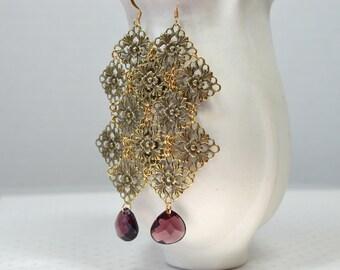 Tudor rose earrings Antique gold lace filigree earrings Lightweight purple teardrop earrings Long Boho earrings Bohemian hippie jewelry