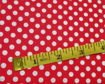 """Red & White Polka Dot Fabric, 44-45"""" wide, by the half yard - 100% Cotton"""