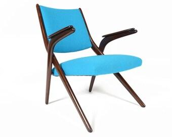 Danish Mid Century Modern Beech Scissor Chair in Cyan