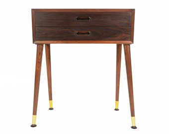 Danish Modern Mid Century Two Drawer Canted Leg Rosewood Nightstand