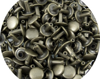 Antique Brass Plated Small Double Capped Rivets - 50 Pack #407-137105