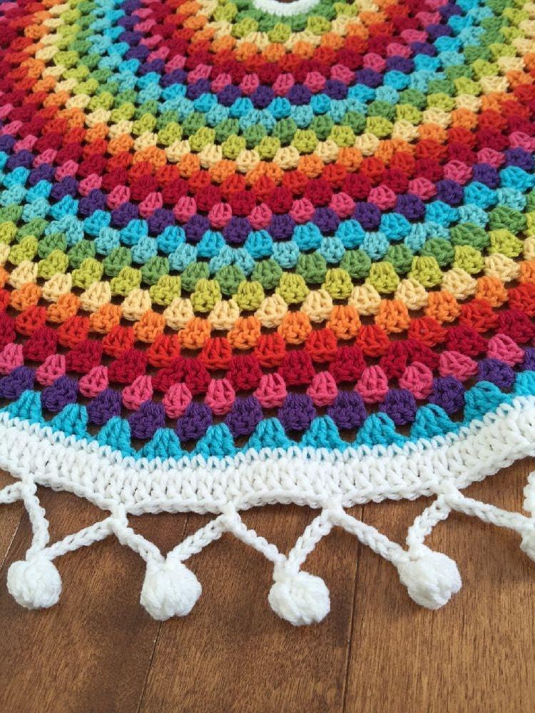 Crochet rainbow christmas tree skirt mandala