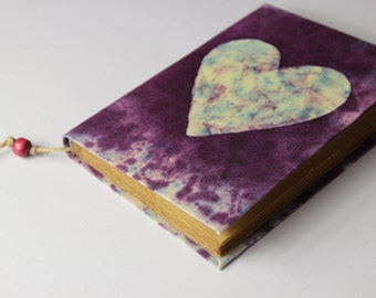 Heart Journal, diary, notebook, batik fabric, blank book, travel journal