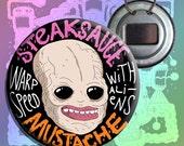 """Steaksauce Mustache Warp Spedd With Aliens Art Bottle Opener Keychain Button Badge - 2.25"""""""