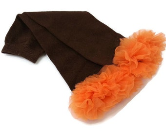Fall Leg Warmers, Brown Leg Warmers with an Orange Ruffle , Infant Toddler Preteen, Arm Warmers
