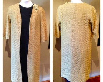 Vintage 1950s Mustard Lace Evening Coat - M/L