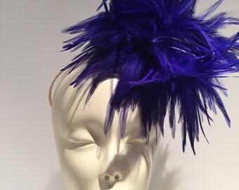 Ladies Luncheon hat- Royal fascinator- Feather headband - Derby Fascinator- Wedding- Blue feather- Fascinator-  Feather headpiece- Royal