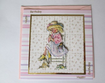 Birthday card, happy birthday card, greetings card, little girl Greeting card, little girl Greetings card, Little girl card, decoupage card