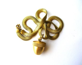 Brass Acorn Canister Necklace - Autumn Necklace - Fall Necklace