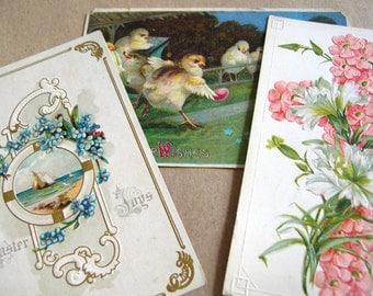3 Antique Victorian Post Cards - Vintage Easter Post Cards - Easter Ephemera - Vintage Ephemera - Vintage Easter Cards