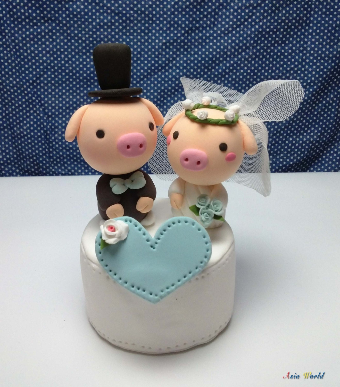 Wedding cake topper couple pigs clay doll bride in by