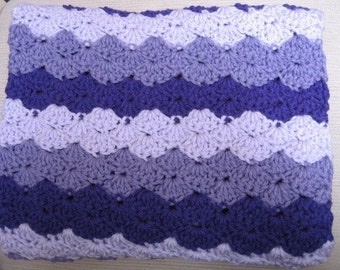 Toddler Throw Stroller Blanket Shell Ripple Purple Lilac Lavender Baby Afghan