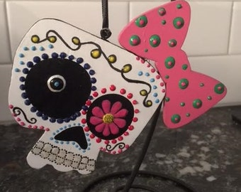 Lil Girl with Bow Sugar Skull Ornament